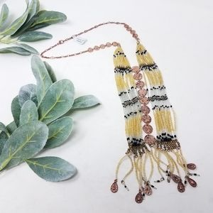 Long Boho Beaded Copper Bib Necklace